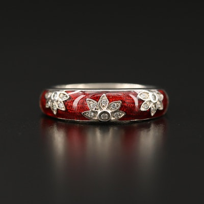 Sterling Silver Guilloché Floral Band with Cubic Zirconia Accents