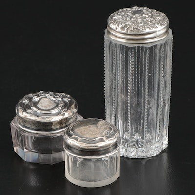W J Myatt & Co Repoussé Sterling and Glass Pill Boxes with Toothpick Holder