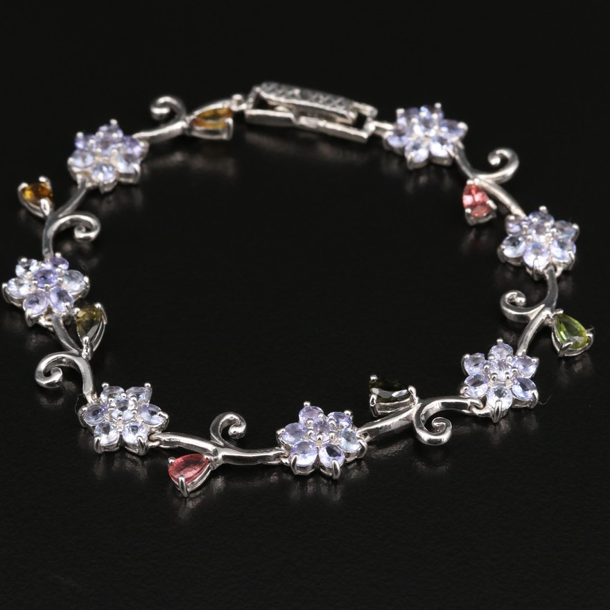 Sterling Tanzanite and Tourmaline Flower Vine Bracelet