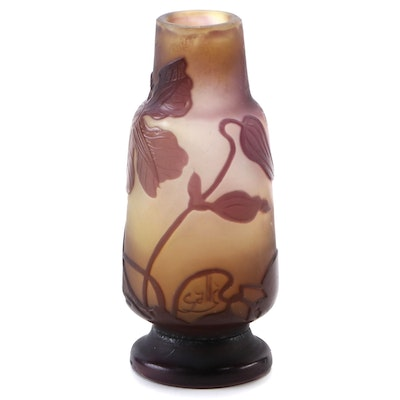 "Gallé Art Nouveau Cameo Glass ""Clematis"" Bobine Vase, Early 20th Century"