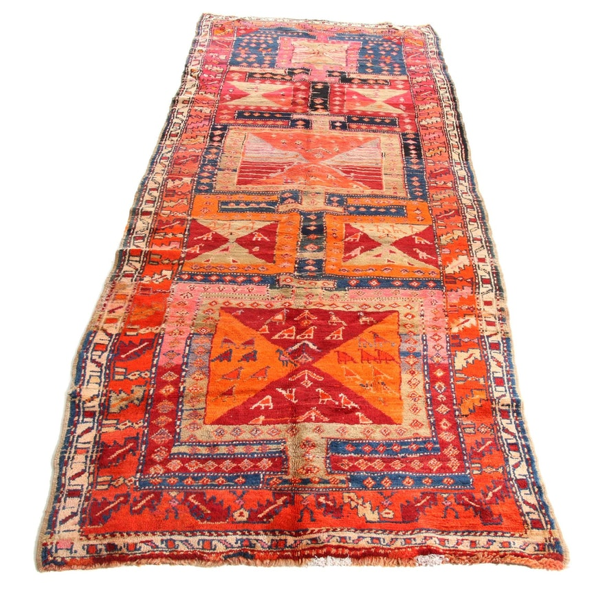4'4 x 11'4 Hand-Knotted Northwest Persian Heriz Pictorial Wide Rug Runner, 1930s