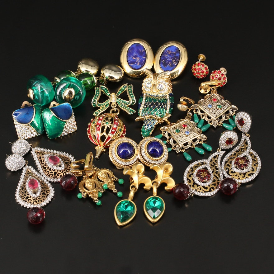Earrings and Brooches Including Owl and Ornament Brooches