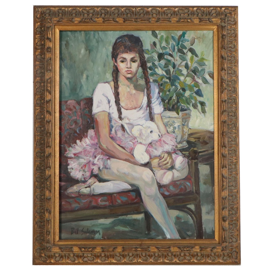 Bill Salamon Oil Painting of Seated Ballerina, Late 20th Century