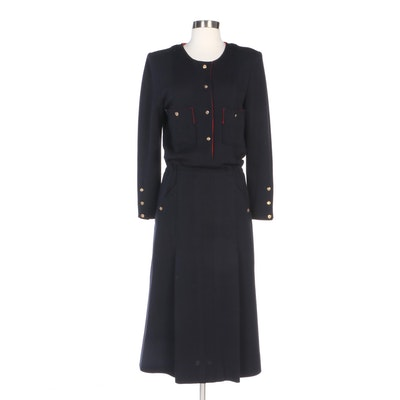 Chanel Boutique for I. Magnin Navy Blue Wool Knit Dress with Red Piping Trim