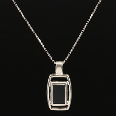 Sterling Black Onyx Rectangle Pendant Necklace