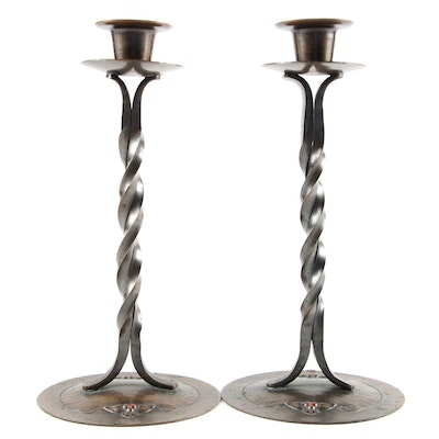 Pair of Craftsman Studios Copper Candlesticks