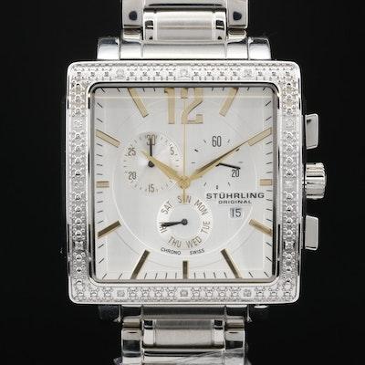 Stuhrling Diamond Chronograph Stainless Steel Wristwatch