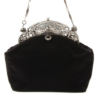 Maud Hundley Sterling Silver Openwork and Black Satin Frame Bag with Link Strap