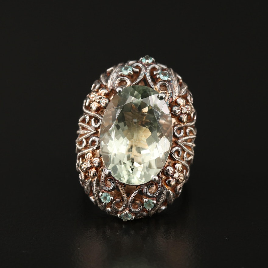 Sterling Silver Prasiolite Openwork Ring with 14K Accents