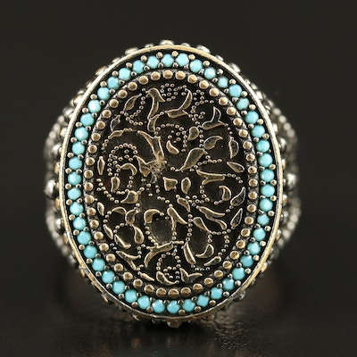 Sterling Faux Turquoise Halo Filigree Ring