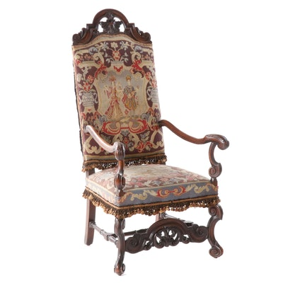 Jacobean Style Arm Chair with Hand Stitched Needlepoint Back and Seat, Antique