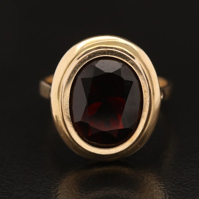 14K Bezel Set Garnet Ring