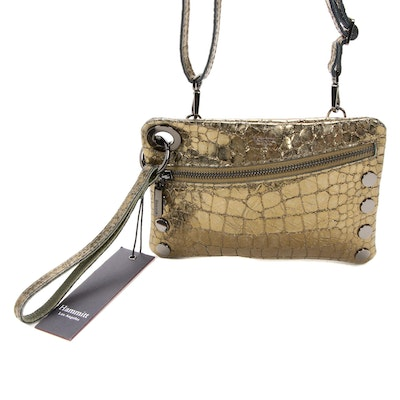 Hammitt LA Nash Crossbody Bag in Eucalyptus Nilo Croco Embossed Metallic Leather