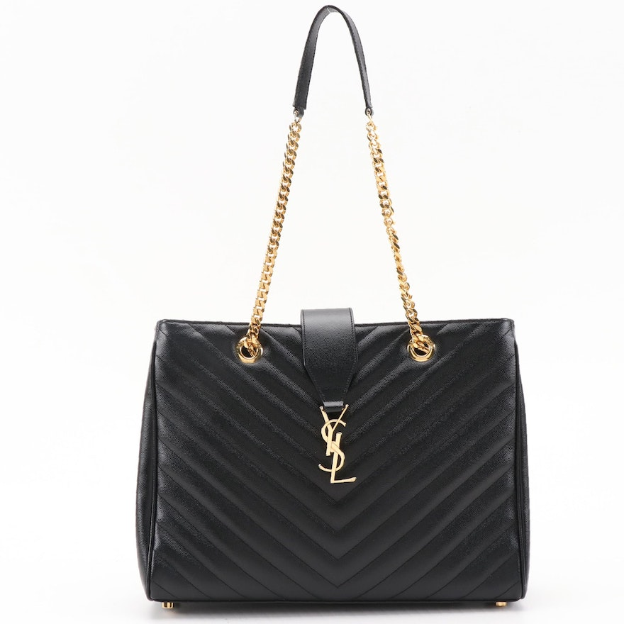 Yves Saint Laurent Black Quilted Leather Monogram Tote Bag