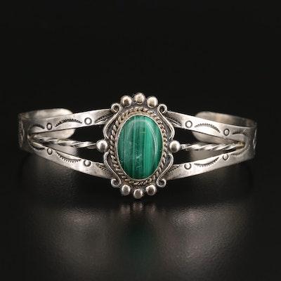 Western Bell Trading Post Sterling Silver Malachite Cuff Bracelet