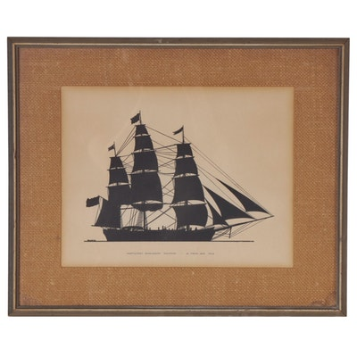 """Nantcuket Whaleship 'Dauphin'"" Relief Print, Mid-20th Century"