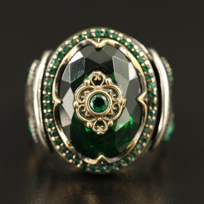 Sterling Faceted Glass Ring