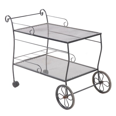 Wrought Iron Mesh Outdoor Bar Cart, Late 20th-Early 21st Century