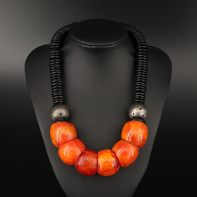 Wood and Faux Amber Beaded Necklace with Sterling Silver Clasp