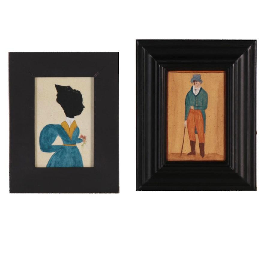 Emily Hollinger American Naïve Folk Art Gouache Paintings