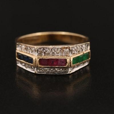 14K Mixed Gemstone and Diamond Octagonal Band