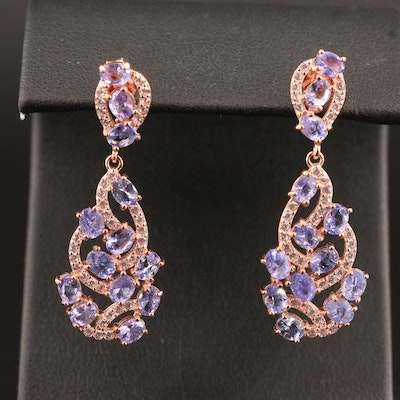 Sterling Silver Tanzanite and Cubic Zirconia Drop Earrings