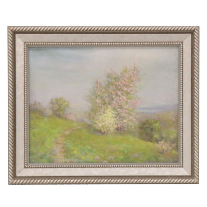Spring Landscape Oil Painting, Late 19th to Early 20th Century