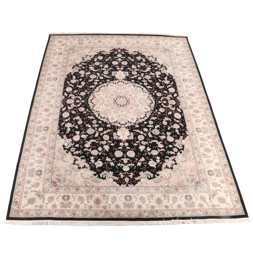 9'10 x 14'6 Hand-Knotted Persian Floral Wool Rug