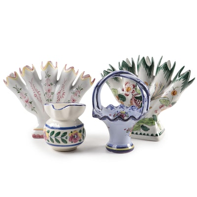 Portuguese and Czechoslovakian Ceramic Tulipiere Vases, Basket, and Creamer
