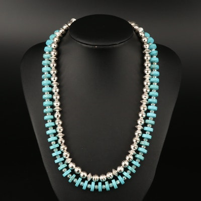 Western Style 800 Silver Bead and Howlite Necklaces with Sterling Clasps