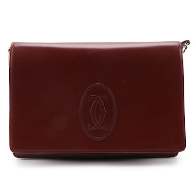 Cartier Les Must de Cartier Shoulder Bag in Burgundy Red Leather