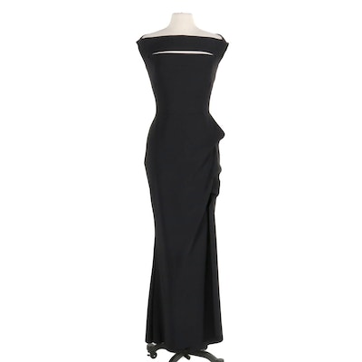 Chiara Boni La Petite Robe Black Melania Off-The-Shoulder Gown with Slit Detail
