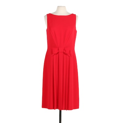 Talbots Pleated Front Red Sleeveless Midi Dress with Flat Bow