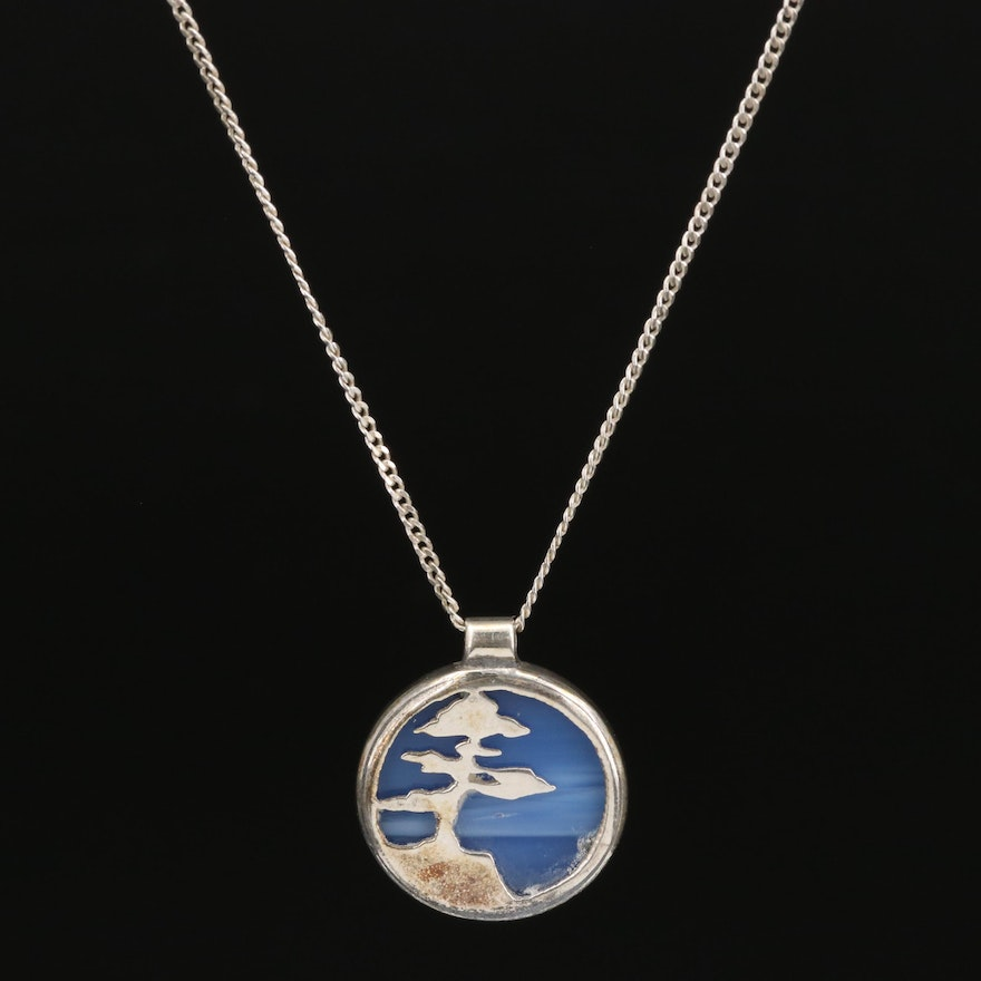 Sterling Glass Tree Motif Pendant Necklace