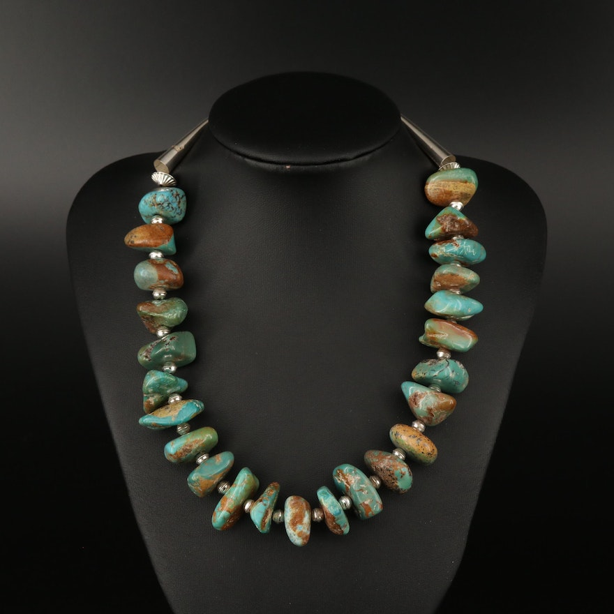 Turquoise Necklace with Sterling Silver Clasp and End Caps