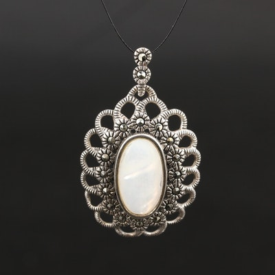 Sterling Mother of Pearl and Marcasite Pendant