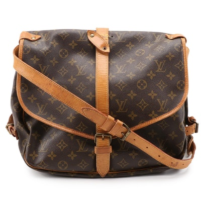 Louis Vuitton Saumar 35 in Monogram Canvas and Vachetta Leather