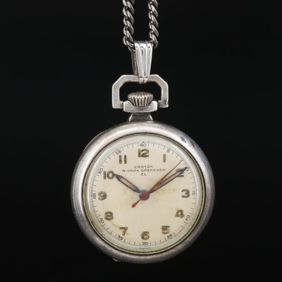 Croton Nivada Grenchen Sterling Silver Pendant Watch