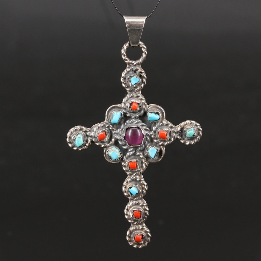 Clicero Pena Valladeres Sterling Silver Turquoise, Glass and Coral Cross Pendant