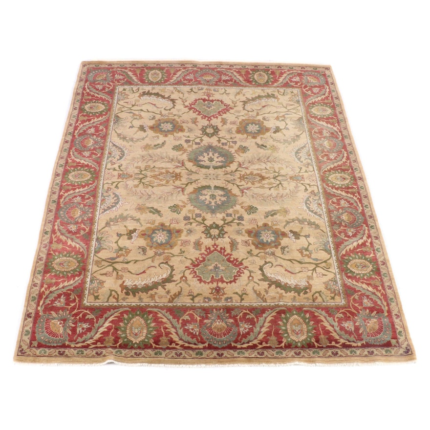 8'11 x 11'10 Hand-Knotted Indian Agra Wool Rug