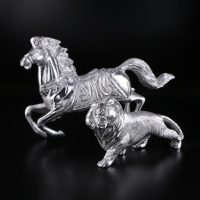 Cast Aluminum Lion and Horse Figurines