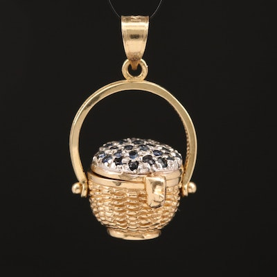 14K Sapphire Nantucket Lightship Basket Pendant with Articulated Lid