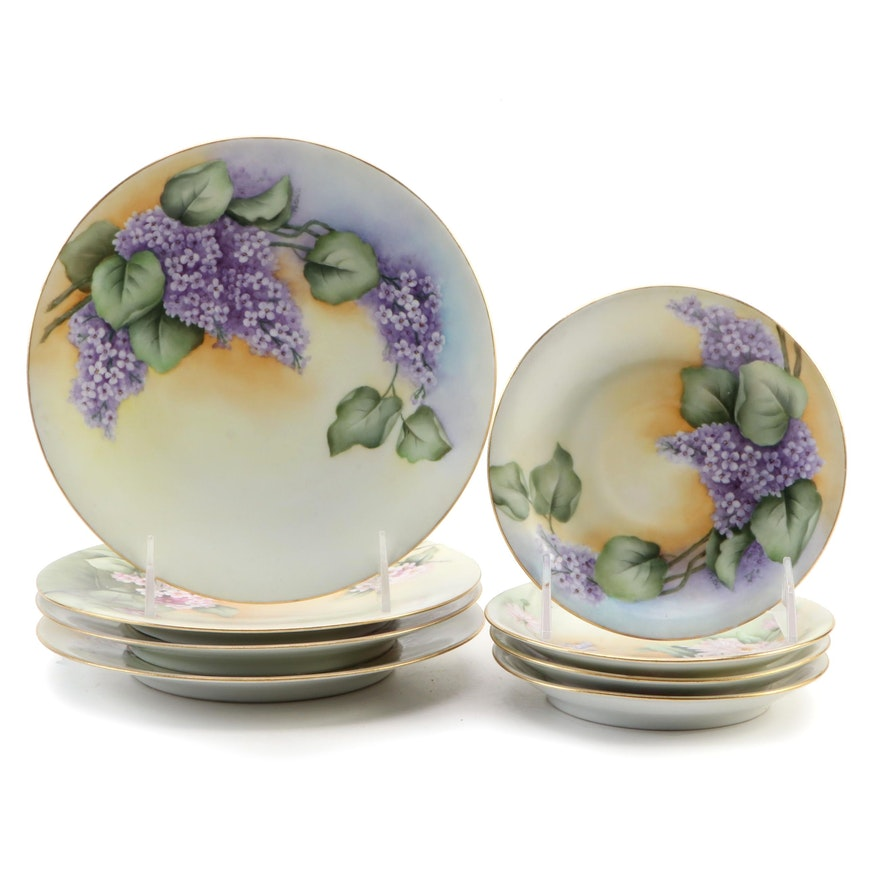 Jean Pouyat and Elite Hobbyist Porcelain Dishes with Lilac Bush Motif