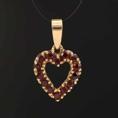 14K Open Heart Pendant Lined with Garnet