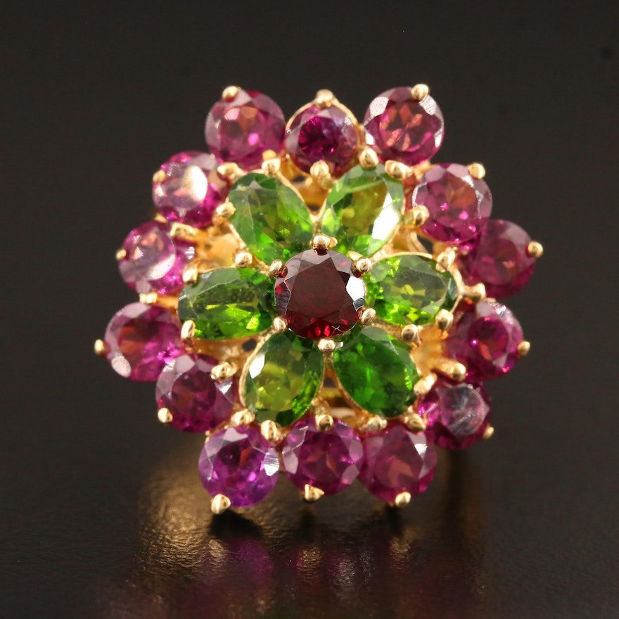 Sterling Silver Garnet and Diopside Flower Ring