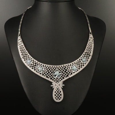 Sterling Aquamarine, Topaz and Cubic Zirconia Floral Panel Necklace