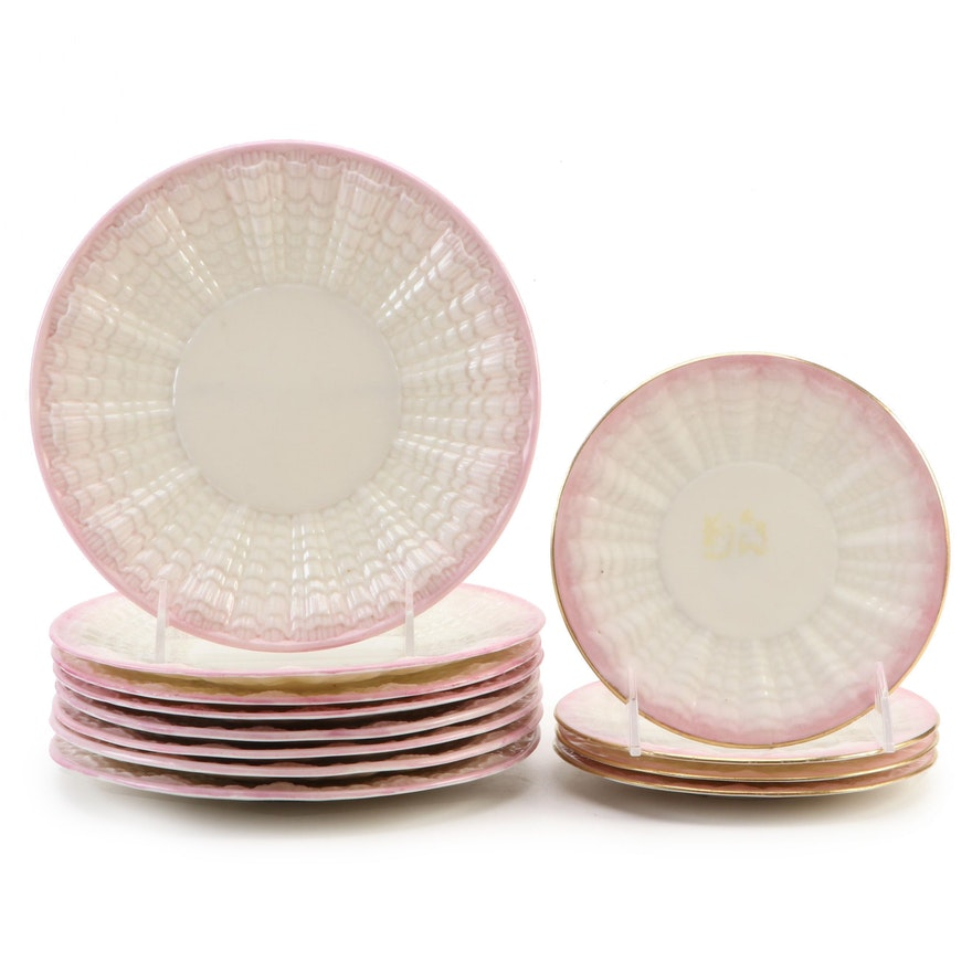 """Belleek """"Neptune Pink"""" Embossed Seashell Motif Dinnerware, 1891–1926"""