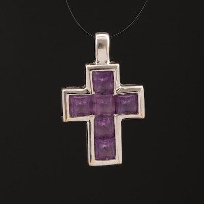18K Amethyst Cross Pendant
