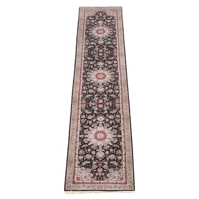 2'6 x 12'5 Hand-Knotted Floral Wool Carpet Runner