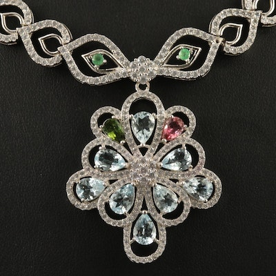 Sterling Aquamarine, Tourmaline and Emerald Openwork Necklace
